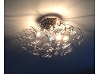 Stunning contemporary chrome and crystal ceiling light