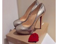 Genuine Christian Louboutin Python Silver Shoes UK 6