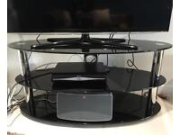 TV stand, black glass and silver