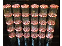 30 Bonne Maman empty jars with red gingham lids