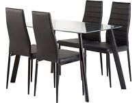 Brand New Downton Glass Dining Table with 4 chairs