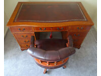 Leather Top Pedestal Writing Office Desk (Key) 4.5ft X 2.5ft & Captains Chair
