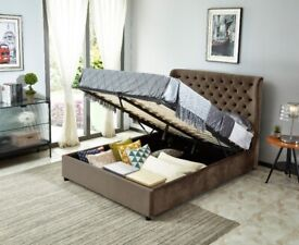 Joanna King Size Ottoman Smooth Velvet Bed - Brown
