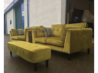 2+2 Sofology green fabric sofas VGC DELIVERY AVAILABLE
