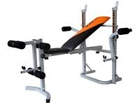 V-fit STB Herculean Folding Weight Training Bench and Weights 70KG