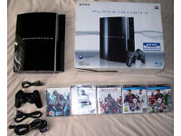PS3 playstation 3 80gb with box, official controller and 5 games!!!!