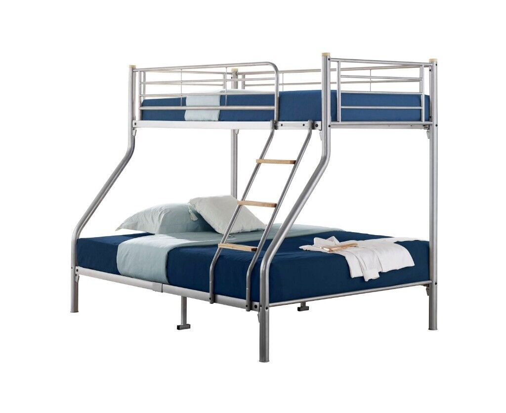 Brand New Triple Sleeper Metal Bunk Bed Frame Single Double Decker Bunkbed With Mattresses Of