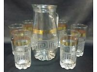 7PC GOLD DESIGNER DESIGN WATER ,JUICE,DRINK SET