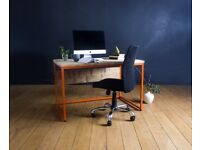 Oldman Reclaimed Wood Desk with Orange Powder Coated Steel Frame