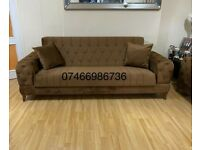 💥🔥DISCOUNTED SALE ! BRAND NEW STONE SOFA BED WITH OTTOMAN STORAGE AND FREE CUSHIONS