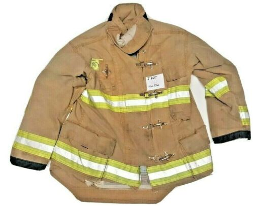 42x32 Morning Pride Firefighter Brown Turnout Jacket Coat with Yellow Tape J865
