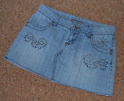 Jordache Women's Junior Mini Skirt Studs Bleached Denim Blue Size - Bleached Denim Mini Skirt