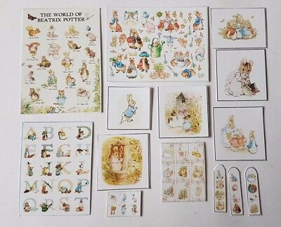 Beatrix Potter pictures & poster set 1:12th scale dolls house nursery toys UK