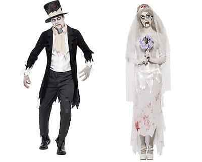 ZOMBIE GHOST BRIDE AND GROOM FANCY DRESS HALLOWEEN COUPLES COSTUMES  - Zombie Bride And Groom Costume