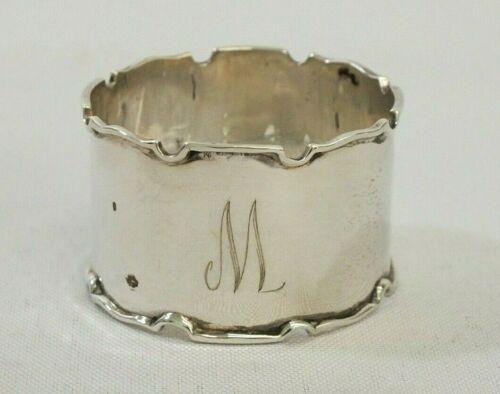 Antique 1946 Sterling Silver Walker & Hall Monogramed M Scalloped Napkin Ring
