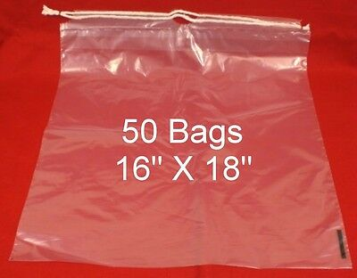 "50  Drawstring Tote Shoe Bag Clear Plastic Bags 16"" X 18""  NEW"