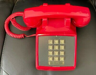 VINTAGE STROMBERG-CARLSON RED TOUCH TONE MODULAR DESK PHONE - TESTED WORKS!