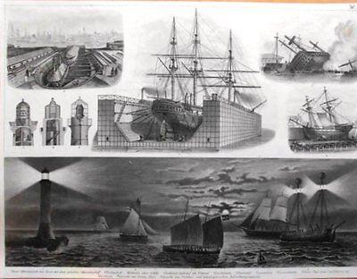 MARINE:Trockendock/Leuchtturm/Lootsenboot/Feuerschiff/ STAHLSTICHTAFEL 1860/70.