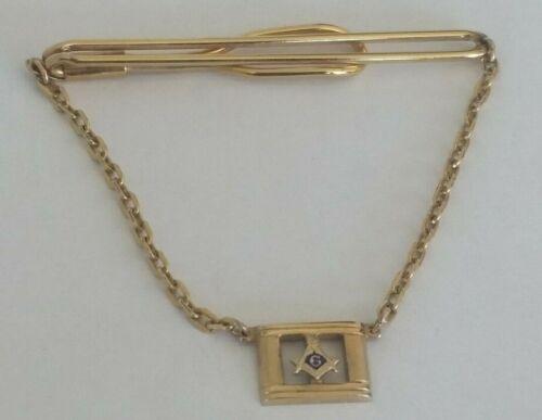 Vtg Swank Gold Tone Masonic Freemasons Freemasonry Symbol Tie Bar Chain Clip