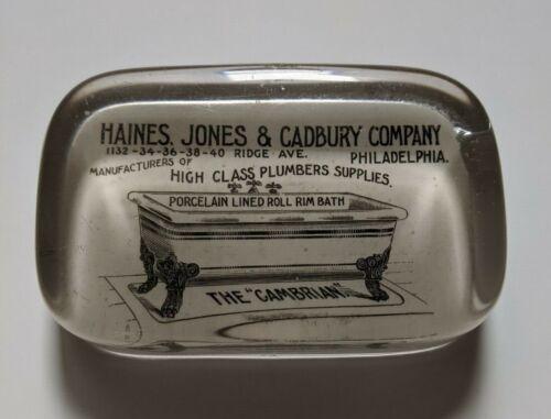 Antique Glass Advertising Paperweight Plumbers Philadelphia Bathtub late 1800s