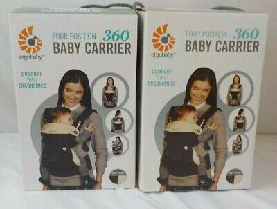 NEW NIB Ergo Baby 360 Carrier Ergobaby Infant Sling Four Position Black Camel