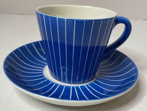 Vtg RARE Blue Zebra Zenit Cup and Saucer by Upsala Ekeby Gefle Made in Sweden