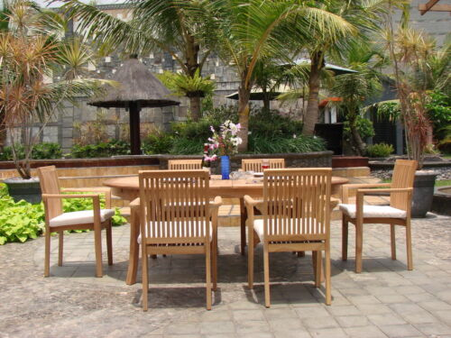 """7-piece Outdoor Teak Dining Set: 94"""" Oval Extn Table, 6 Stacking Arm Chairs Lua"""