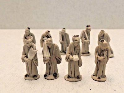 nine vintage miniature chinese mudmen