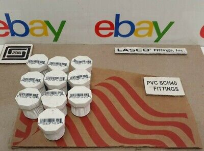 10pc. 12 Mpt Threaded Plug Pvc Schedule 40 Made In Usa Plumbing Fitting