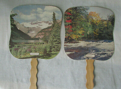 Vintage advertising paper fan, lot of 2, bank, electric company