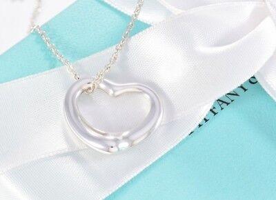 "Tiffany & Co Elsa Peretti Sterling Silver Medium Open Heart Necklace 16"" + Pouch"