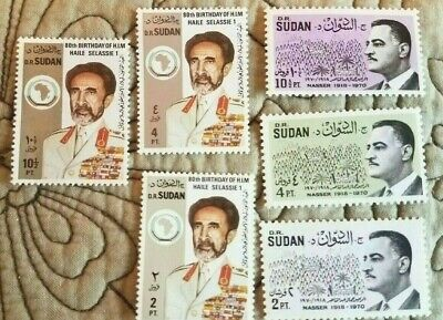 Sudan: 6 Stamps 3 from 1970, Nasser; & three stamps of R.I.M Haile Selassie 1