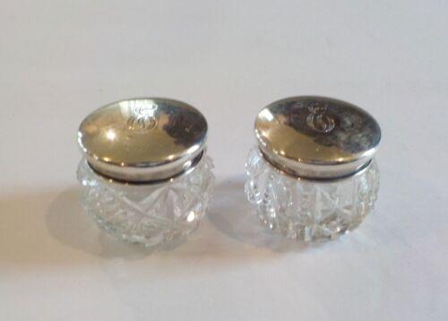 Pair American Brilliant Cut Glass Dresser Jars, Sterling Silver Lids, c. 1900