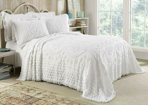 KINGSTON TUFTED FLORAL CHENILLE BEDSPREAD, ALL COTTON