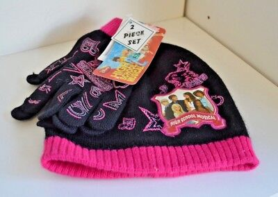2 PC Knit HAT & GLOVES Child High School MUSICAL 2 HSM Costume Black & PINK New
