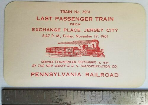 1961 Last Passenger Train Exchange Place New Jersey Pennsylvania RR Card Ad?