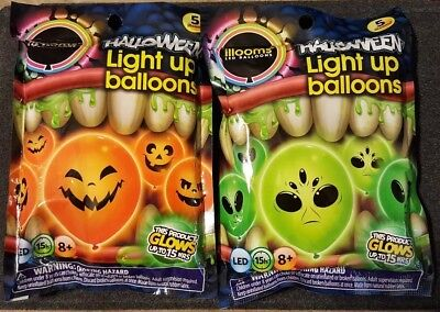 Glow In The Dark Halloween Balloons ((10) HALLOWEEN LED GLOW IN THE DARK 9