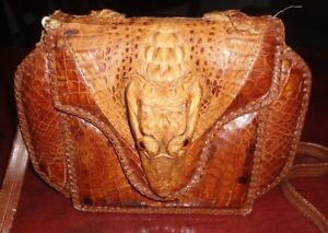 Vintage Leather Crocodile Alligator Taxidermy Head Legs Hand Bag Purse - DAMAGE