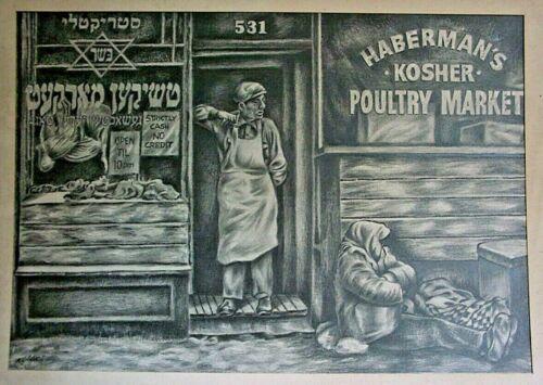 Kosher Poultry market by H.Goldberg 1917-2004 L A R G E drawing/Jewish Americana