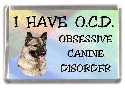 "Elkhound Dog Fridge Magnet ""I HAVE O.C.D.""  by Starprint"