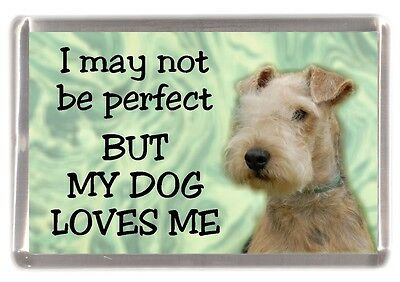 """Lakeland Terrier Dog Fridge Magnet """"I may not be perfect ........"""" by Starprint"""