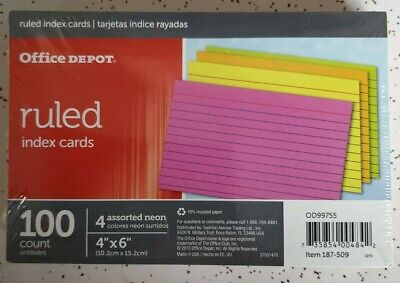 Office Depot Brand Index Cards 4 X 6 Ruled 4 Assorted Neon Colors 100ct