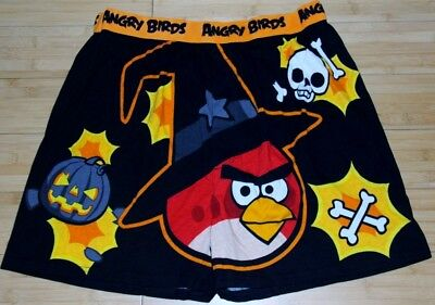 MED ANGRY BIRDS Halloween Men Boxer Trick Tweet Pig Skull Pumpkin Bird NWT