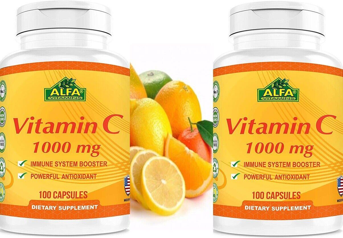 Vitamin C 1000 mg. 100 Capsules. 2 Bottles Packs.Improve Immune System 200 caps 1