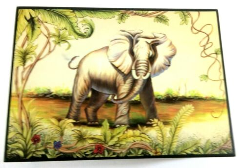 """Wooden Trinket Box -ELEPHANT -  Approx 9"""" x 6"""" x 3"""" - Signature Home Collection"""