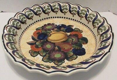 "15"" Antique ROYAL COPENHAGEN ALUMINIA FAIENCE BOWL c1918 Fruit Flowers Denmark"