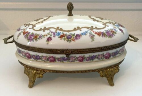 Antique French FBS Porcelain Vanity Trinket Box Hand Painted Gold Made in France