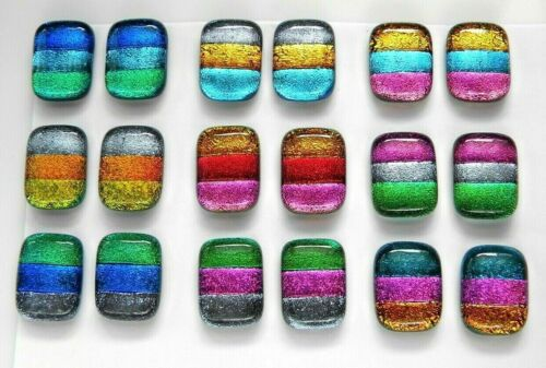 MATCHING PAIR Lot 18 pcs EARRINGS HANDMADE DICHROIC FUSED GLASS (BJ10) CABOCHON