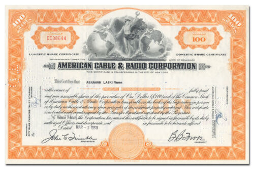 American Cable & Radio Corporation Stock Certificate