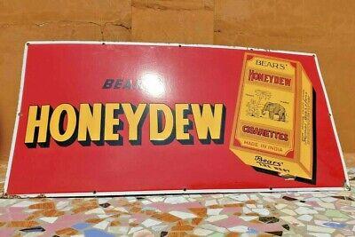 Rare 1920's Old Vintage Bear Honeydew Cigarette Porcelain Enamel Big Sign Board